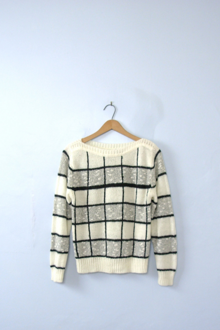 Vintage 80s Striped Sweater Black And White Sweater Checkered