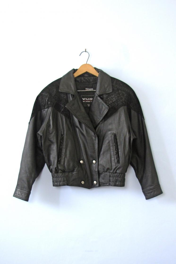 Vintage Leather Jacket >> Vintage 80 S Oversized Black Leather Jacket With Shoulder Pads
