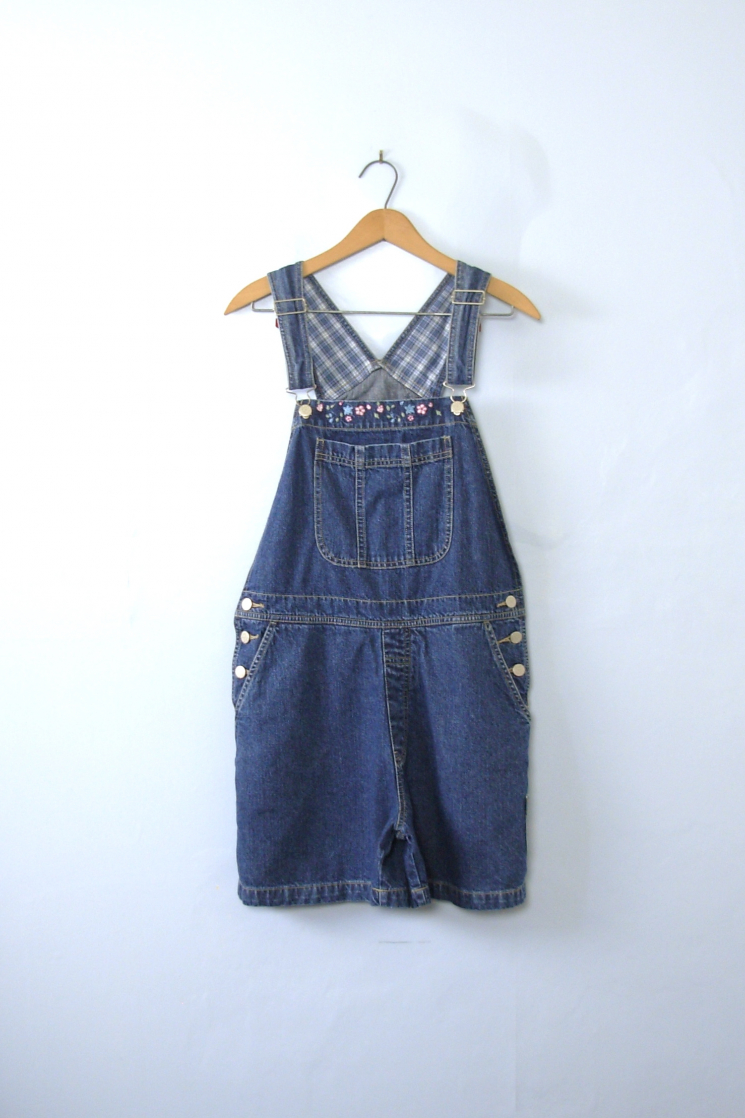 f89b1df984ad5 Vintage 90 s carpenter blue denim overall shorts with embroidered flowers