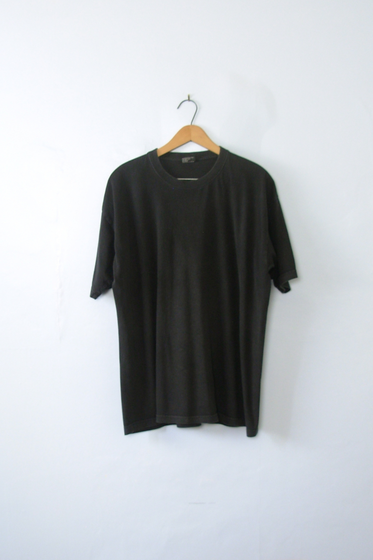 80's Black ShirtMen's Plain Tee Xl Vintage Size LargeManor hrtsQd