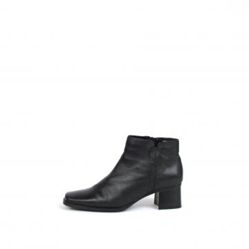One pair of vintage 1990's black leather ankle boots with block heel, high heele