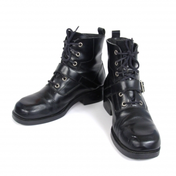 Vintage 90's black leather hiking boots, black ankle boots, women's size 8.5