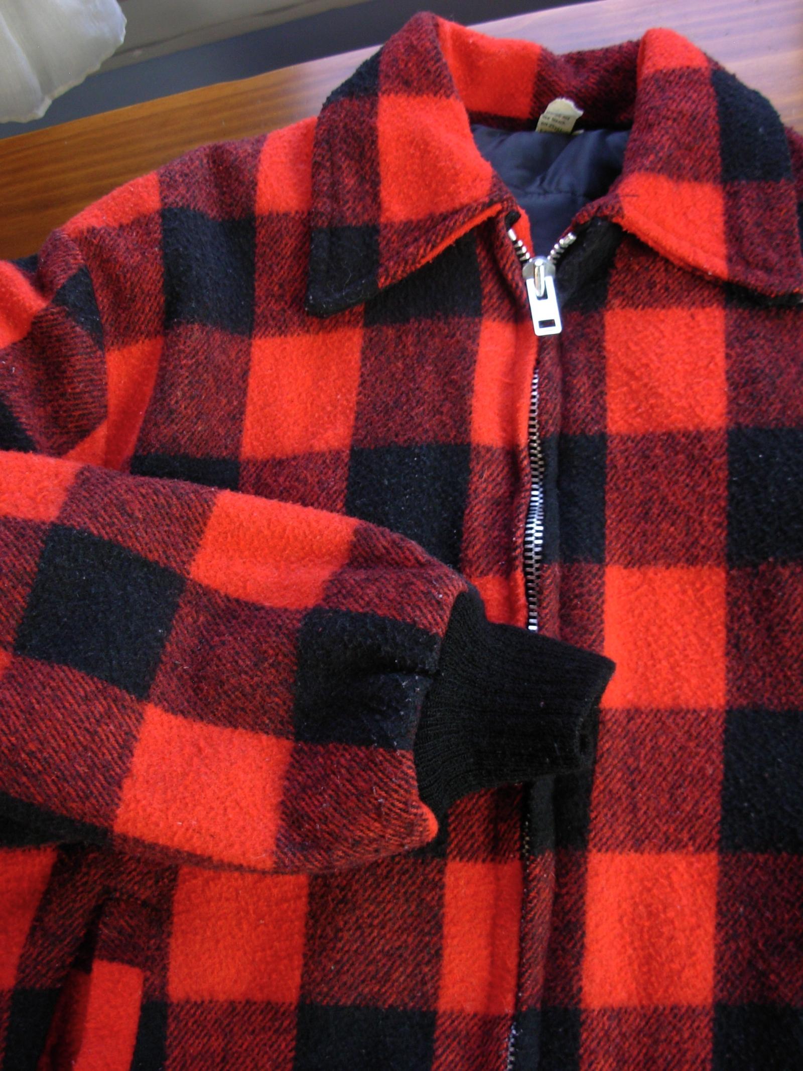 Vintage 70 S Red And Black Plaid Jacket Lumberjack