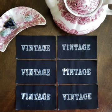 Vintage hand stamped patch, hand made patches, black and white patch with FREE SHIPPING
