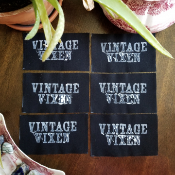 Vintage Vixen hand stamped patch, hand made patches, black and white patch with FREE SHIPPING