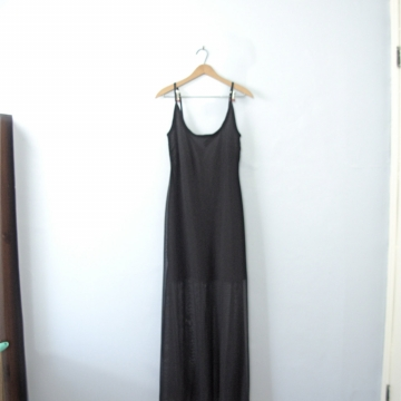 Vintage 90's long black dress, slinky black dress, black maxi dress, goth dress, size 12