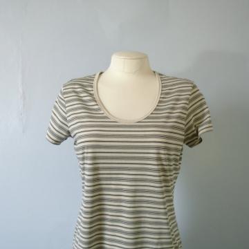 Vintage 90's beige and black striped shirt, size medium / large