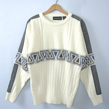 Vintage 80's white sweater with denim patches, triangles, size medium
