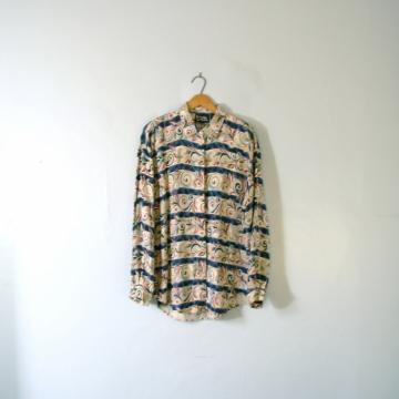 Vintage 80's long oversized tunic blouse, striped dress shirt, women's size large