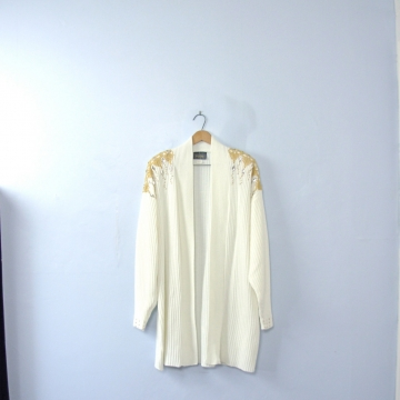Vintage 80's winter white and gold long cardigan sweater, shoulder pads, size large / medium
