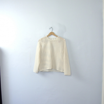 Vintage 60's white striped sheer top, sheer blouse, size small / medium