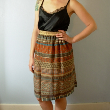 Vintage 80's southwestern tribal skirt, hippie / boho summer skirt, size 10 medium