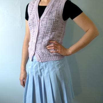 Vintage 80's lilac sweater vest, pastel knit vest, size medium