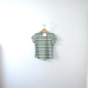 Vintage 90's blue and khaki striped crop top / cropped top shirt with keyhole cut out, size medium / small