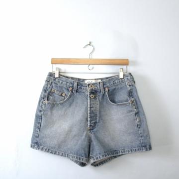 Vintage 90's high waisted denim shorts, button fly, size 12