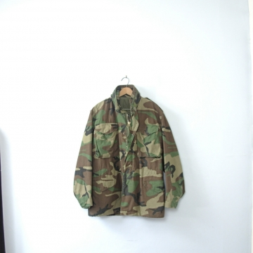 Vintage 1980's camo army jacket, military anorak coat, camouflage winter coat, M65 field jacket, men's size small