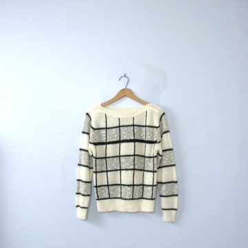 Vintage 80's striped sweater, black and white sweater, checkered sweater, size small
