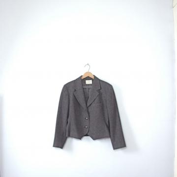 Vintage 80's equestrian jacket, charcoal grey blazer, size medium