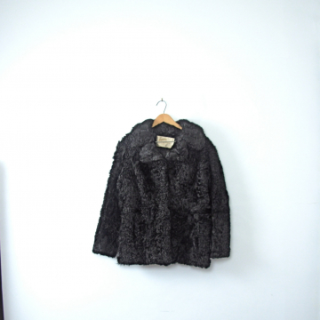 Vintage 50's black fur coat, real persian wool / mongolian lamb, winter coat, size small / medium