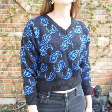 Vintage 80's dark navy sweater with metallic blue paisley designs, crop top, size medium M