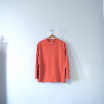 Vintage 80's red shirt, long sleeved loose tee, women's size large