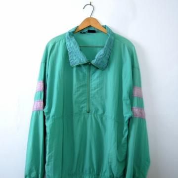 Vintage 80's teal windbreaker, blue pullover, lightweight jacket, size medium