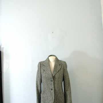 Vintage 70's women's black and white tweed blazer jacket, wool tweed jacket, size medium