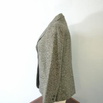 Vintage 70's women's black and white tweed blazer jacket, wool tweed jacket, size medium