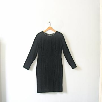 Vintage 80's long black velvet dress, long sleeved pencil skirt, cocktail dress, size 8 / medium