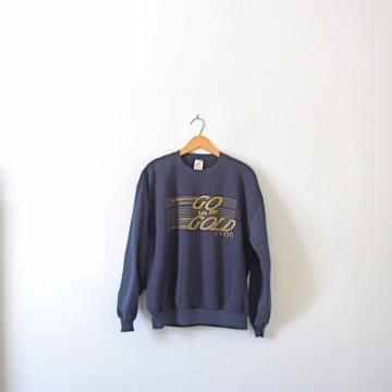 Vintage 80's navy blue sweatshirt, Go for the Gold, Avon, size XL