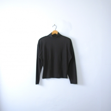 Vintage 80's plain black mock turtleneck with shoulder pads, long sleeved shirt, women's size medium