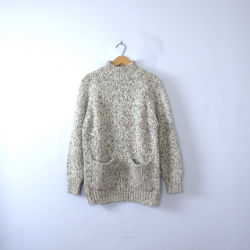 Vintage 90's white and black oversized chunky sweater, long tunic sweater, women's size medium