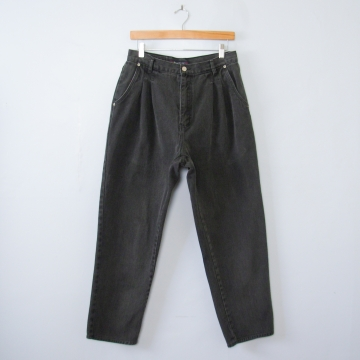 Vintage 80's black high waisted pleated jeans, women's size 12 / 10