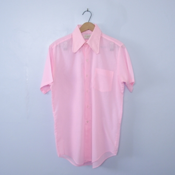 Vintage 70's pink button up short sleeve shirt with pocket, men's size small