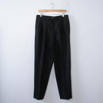 Vintage 90's Liz Claiborne black linen pleated pants with tapered leg, women's size 12