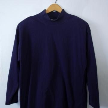 80's navy blue mock turtleneck shirt, women's large