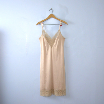 Vintage 60's champagne silky slip dress with lace, size medium / 36