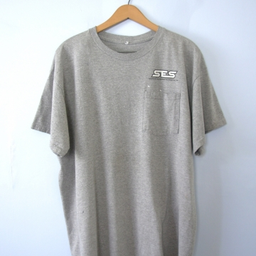 Vintage 90's distressed grey shirt with pocket, size large