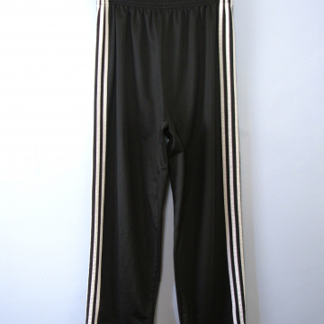 Vintage 90's Adidas black snap track pants with stripe, made in USA, women's large