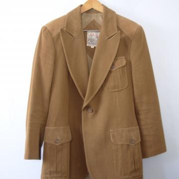Vintage 70's light brown equestrian blazer jacket, men's size 40 / medium