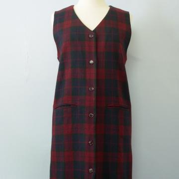 90's plaid wool jumper dress with pockets, women's size medium