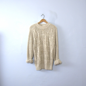 Vintage 80's oatmeal cotton cable knit sweater, men's size medium