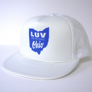 Vintage 70's Let Us Vote Ohio movement white trucker hat snap back, Boyce & Hart