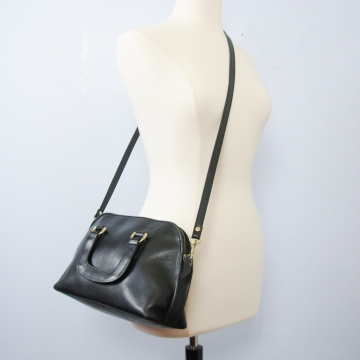 Vintage 90's Hunt Club black leather satchel crossbody purse