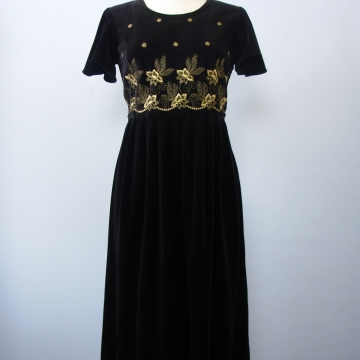 90's black velvet empire waist midi dress, women's medium / 8