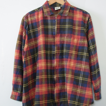 90's grunge red plaid flannel button up shirt, women's size medium