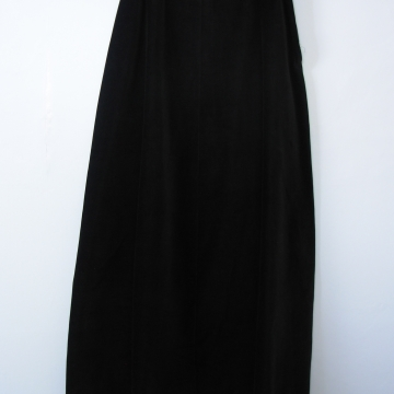 70's long black velvet skirt, women's 8 / 6