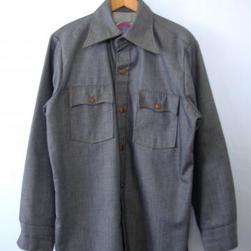 Vintage 70's Wrangler western denim shirt, men's size medium