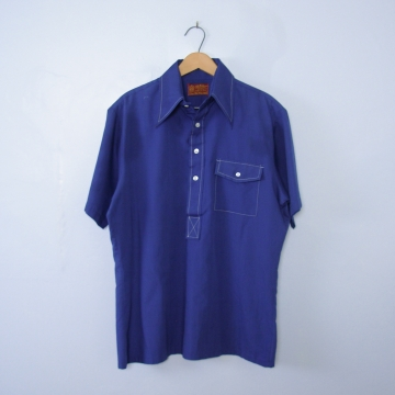 Vintage 70's blue henley polo shirt, men's size medium