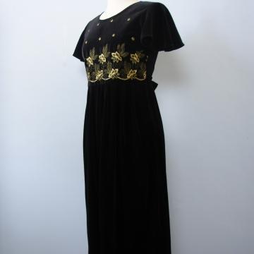 90's black velvet empire waist midi dress, women's medium / 8